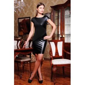 Чёрное платье с кожаными вставками Marcella