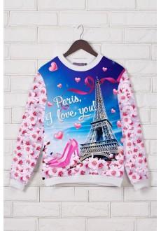 Женский свитшот с принтом «Paris, I love you!»